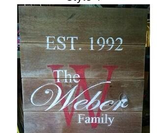 Family Est. Name Plaque