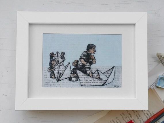 Original art print, art print paper boat, nautical, book art print, ship, book pages, print book lovers, print for boys, boat watercolors,