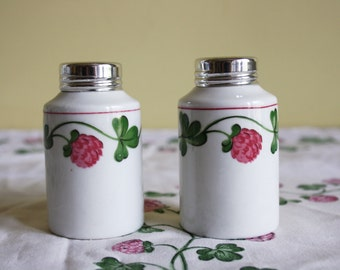 Villeroy Boch, Gallo, Das Kleine Glück, La Petite Fortune, saucière, set of two saltshakers, pink, green, white, clovers, retro, vintage