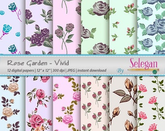 Rose Garden-Vivid, Flower, Blossom, Floral, Rose, Digital Paper, Scrapbooking, Paper, 12x12, Printable, Pattern,  Background, Download