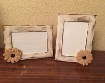 Rustic wood frame with burlap flower