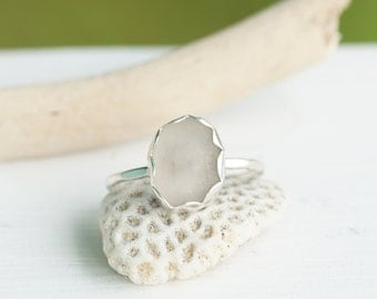 Sterling Silver and Pink Seaglass Stack Ring
