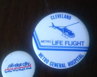 Pair of 1980's Cleveland Ohio Buttons
