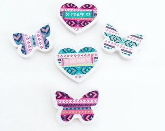 Erasers Butterflies and Hearts Aztec