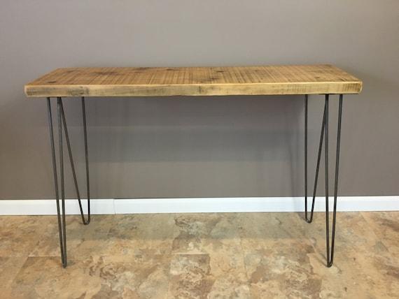 Urban Wood Console Table Hairpin Legs Modern Rustic Wood