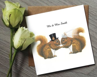 Unique Wedding Card - Squirrel Gifts - Squirrel Art - Funny Wedding Cards - Funny Wedding Gifts - Red Squirrel - Funny Cards - Squirrel