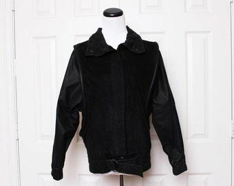 Vtg 80s Black Leather Suede Cool Urban Hip Hop Batwing Jacket XS/S