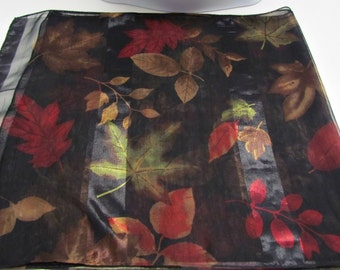 Vintage 2-Tone Autumn Leaves Scarf, Black Burgundy Bronze Green Brown Gold, Sheer Long Fashion Accessory