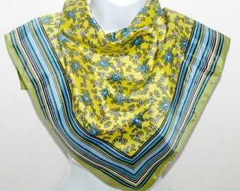 Vintage Glentex Square Scarf, Stripes and Roses in Yellow Green Blue Aqua and Cream, Fashion Accessory, Handbag Tie On