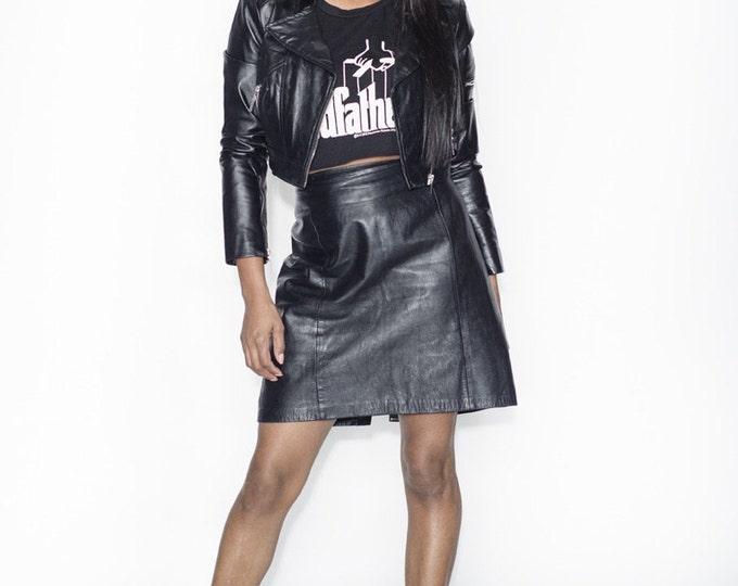 Black Vintage Leather Mini Skirt