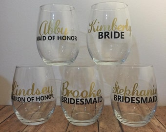 Personalized wine glasses. Wedding gifts. Bridal party wine glasses. Wine glasses