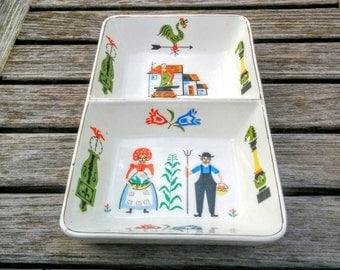 Vintage Pennsylvania Dutch Dish/Divided Ceramic Dish/Amish Double Dish/Farm Theme Dish/Amish Couple/Pottery Dish/*FREE GIFT WRAP*