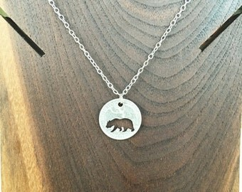 Bear Quarter Necklace - Hand Cut Coin Necklace