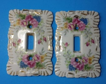 FREE SHIPPING, Porcelain Floral Light Switchplates, Vintage 1940/50's Switchplates, Pink Roses, Childrens Room Decor, Made In Japan   #4