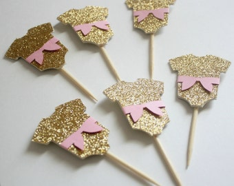Pink and Gold Cupcake Toppers; Onesie Cupcake Toppers