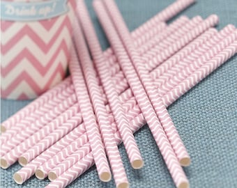 Powder Pink Paper Straws - Chevron Divine Party Tableware Accessories Party Supplies