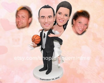 wedding cake topper, bride and groom, funny wedding   cake topper, bobblehead dolls