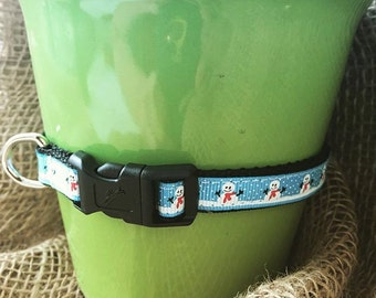 Dog Collar Snowmen, Snowman Collar, Winter Dog or Cat Collar