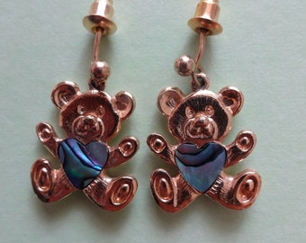 Vintage Teddy Bear Earrings for pierced ears, Abalone Earrings, Gold Abalone Earrings