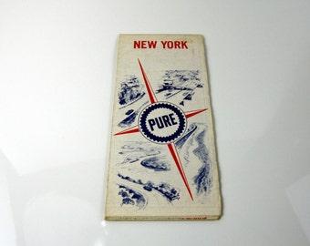 Vintage Pure Road Map - Vintage Pure Map  - Vintage New York Road Maps - Pure Oil