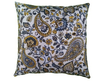 Gray and Yellow Paisley Pillow Cover with Optional Polyester or Feather Insert