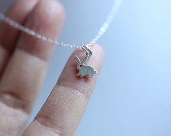 Little bunny Jewelry, Bunny necklace in Sterling Silver, Rabbit necklace, Delicate necklace, Animal Necklace , Children Necklace, Cute bunny