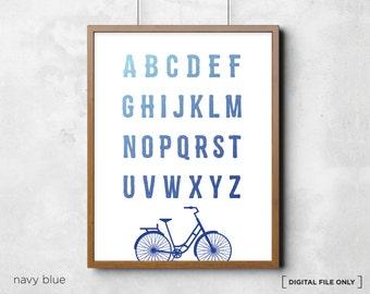 Bicycle Alphabet Chart Poster Print - Printable alphabet chart - abc chart - alphabet letters poster - Childrens Room Wall Art Decor