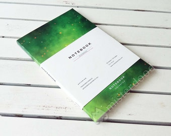 CUSTOM TITLE Journal, Green Universe Notebook, Minimalist Modern Gift for Astronauts, Science Geek, Emerald Galaxy Stationery Paper Goods