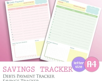 A4/LETTER - Savings Tracker, Debt Payment List PDF, Budget Finance Spending, Month Expenditure Worksheet, Instant Download Planner Organizer
