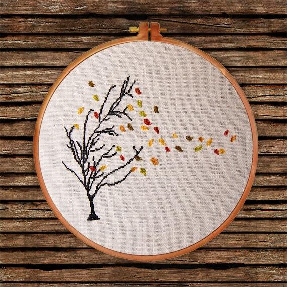 Autumn Tree cross stitch pattern| Thin tree golden leaf falling counted chart| Nature botanical design decor gift| Easy beginner design pdf