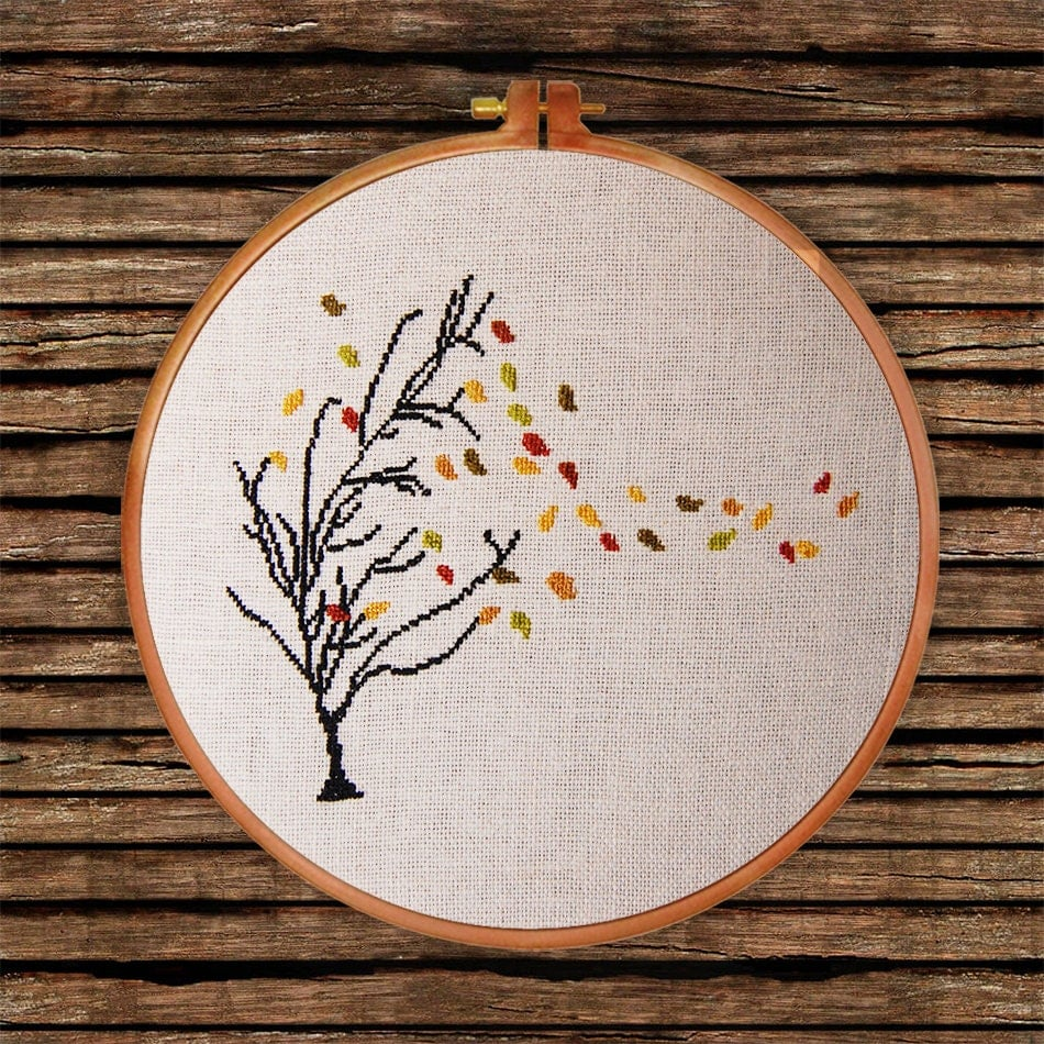 Brazilian embroidery bedspread designs - Autumn Tree Cross Stitch Pattern Thin Tree Golden Leaf Falling Counted Chart Nature Botanical Design Decor Gift Easy Beginner Design Pdf