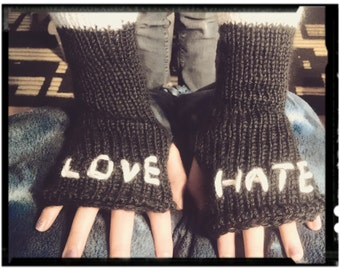 Love/Hate stitched fingerless gloves