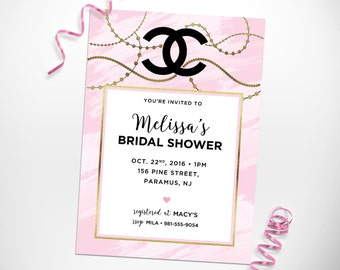 Chanel bridal shower invitations red chanel inspired bridal shower invitations mini bridal filmwisefo