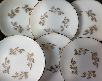 """Federal Glass """"Meadow Gold"""" Salad Plates - Set of Six"""
