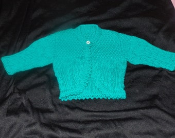 Baby Bolero, Hand knitted Teal Cabled Bolero, Fit's age 6 to 12 months,Baby Shrug, Baby Shower Gift, Christmas or Birthday Gifts, Baby Knits