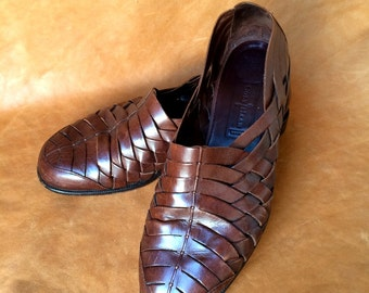 Cole Haan Resort Brown Leather Woven Fisherman Sandals Shoes Size 11 D Mens