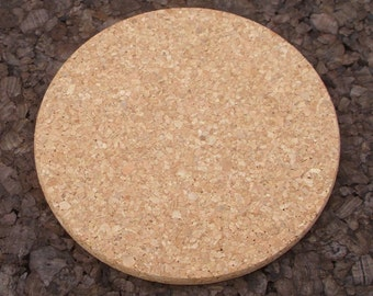 Round natural cork trivet for crafting - 2 pc.