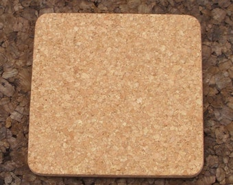 Square natural cork trivet for crafting - 2 pc.