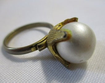 Large Faux Pearl, Gold Tone Metal Statement Ring