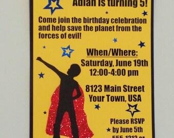 Set of 6 Superhero invitations