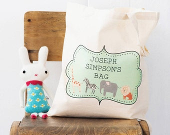 Zoo Tote Bag - Personalised Bag For After School, Classes or Sleepover