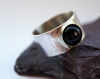 Black Onyx Wide Sterling Silver Ring ~ stacking ring, unisex, men's ring, women's ring, gemstone, statement ring, wide band