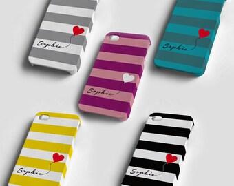 Personifizierte iPhone 4/4S Kasten iPhone 5 iPhone-Cover Kunststoff 4/4S/5 Fall eindeutigen Namen Monogramm und Herz-Ballon