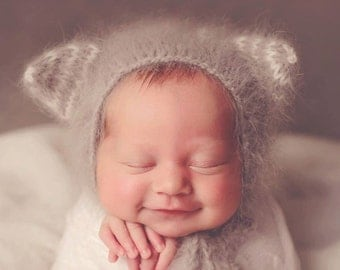 Knit Angora Kitty Bonnet//Newborn Hat//Newborn Photo Prop//Knit Baby Hat//Angora Hat//Animal Hat//Newborn Prop//Photography Prop/Softest Hat