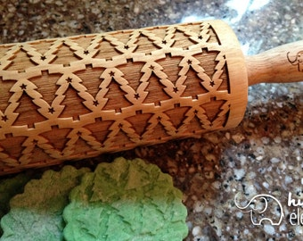 Christmas Tree Laser Cut Wooden Embossing Rolling Pin