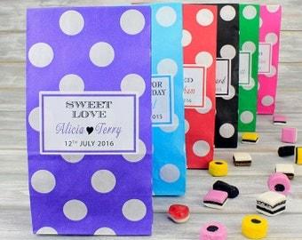 100 x Personalised Pick N Mix Sweet Bag Wedding Favour Gift | Candy Stripe | Polka Dot