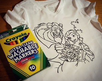 COLOR IT YOURSELF - Shirt, Vinyl, Handmade, Children, Washable, Markers, Coloring, Sheets, Custom, Imagination, Kids, Boy, Girl
