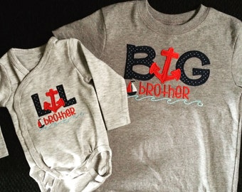 Big Brother/Lil Brother Nautical onesie and or shirt