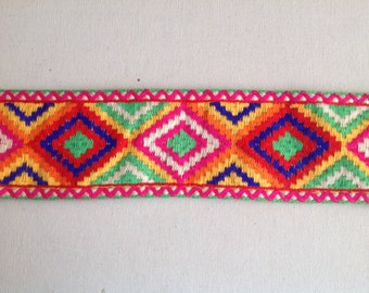 Geometric Multicolor Embroidered Trim Sold by Yard