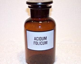 Vintage 600 ML Apothecary Amber Glass Bottle with a Stopper.  Old Chemistry Bottle. Retro Medical Jar. Pharmacy Medicine Bottle